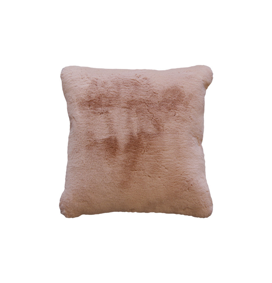 Pele Faux Fur Cushion - Dusky Rose - | Polyester Soft Furnishings