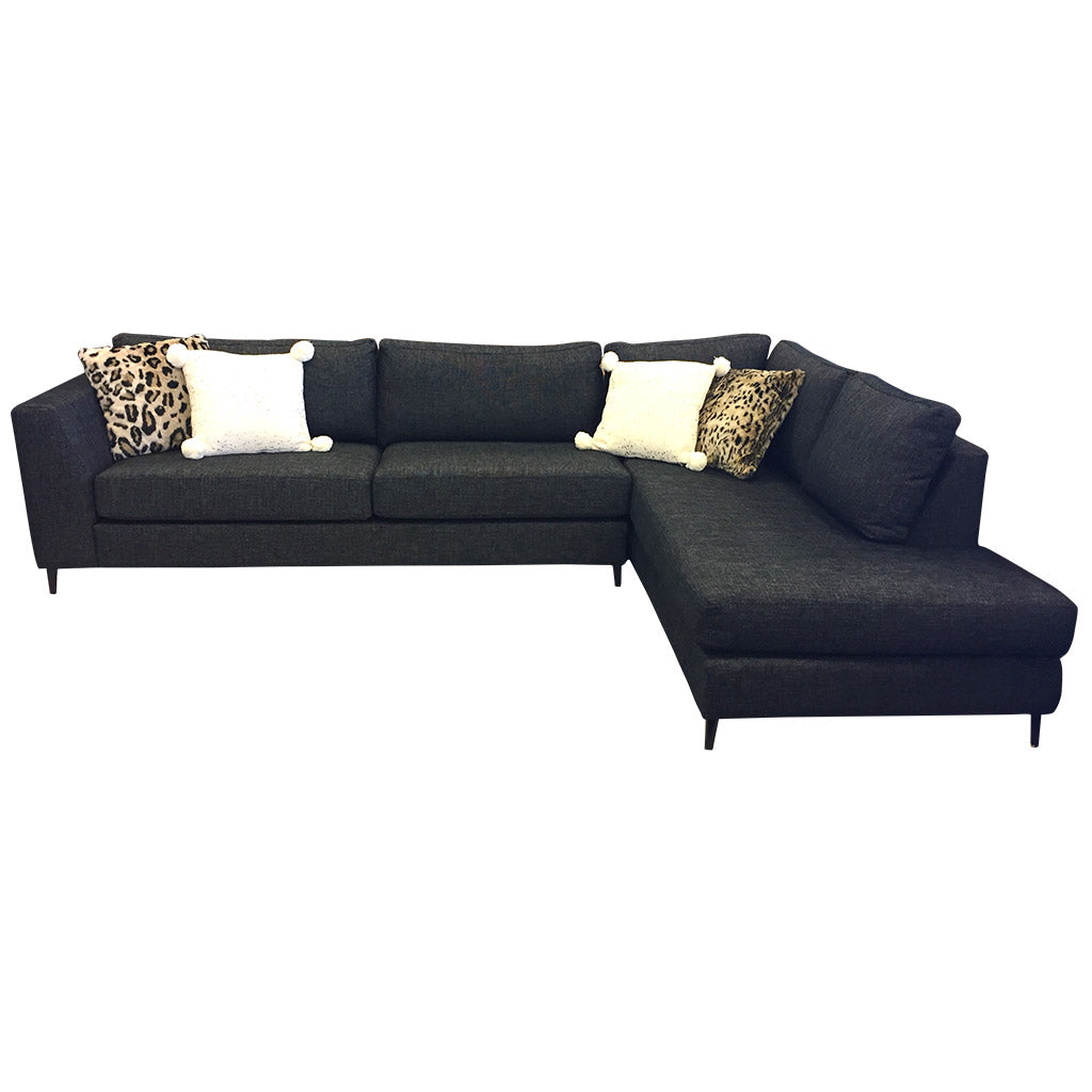 Picasso corner sofa with chaise - Jake Charcoal fabric