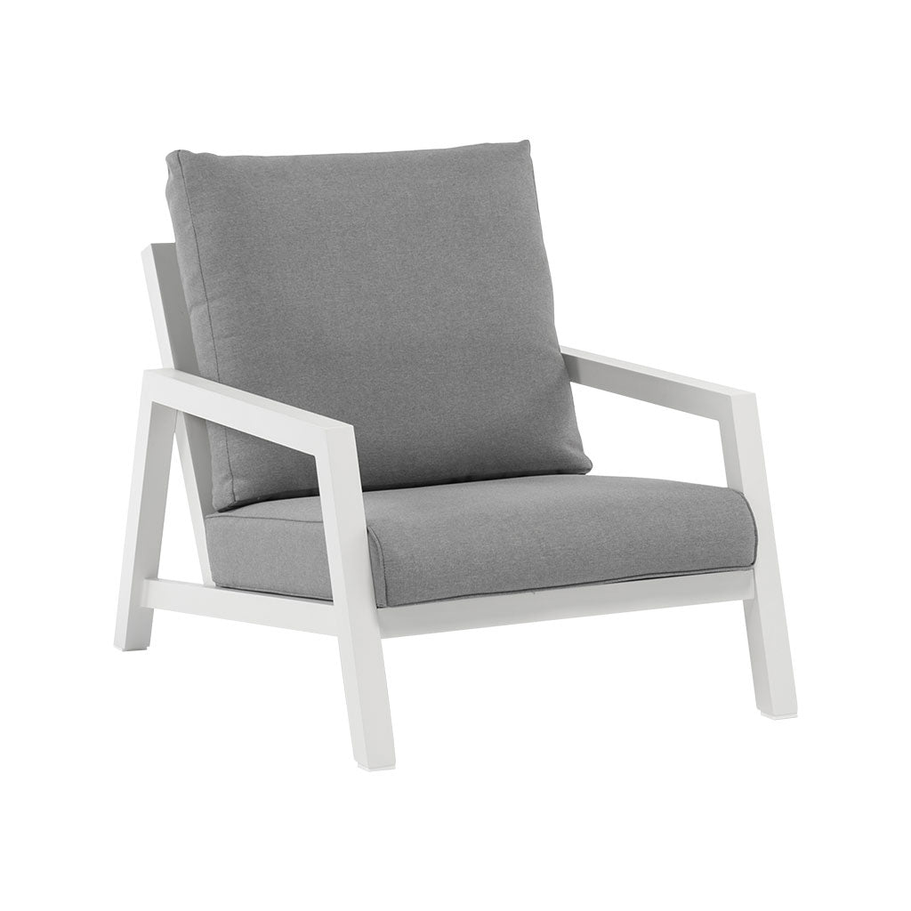 Rakino white outdoor lounge chair
