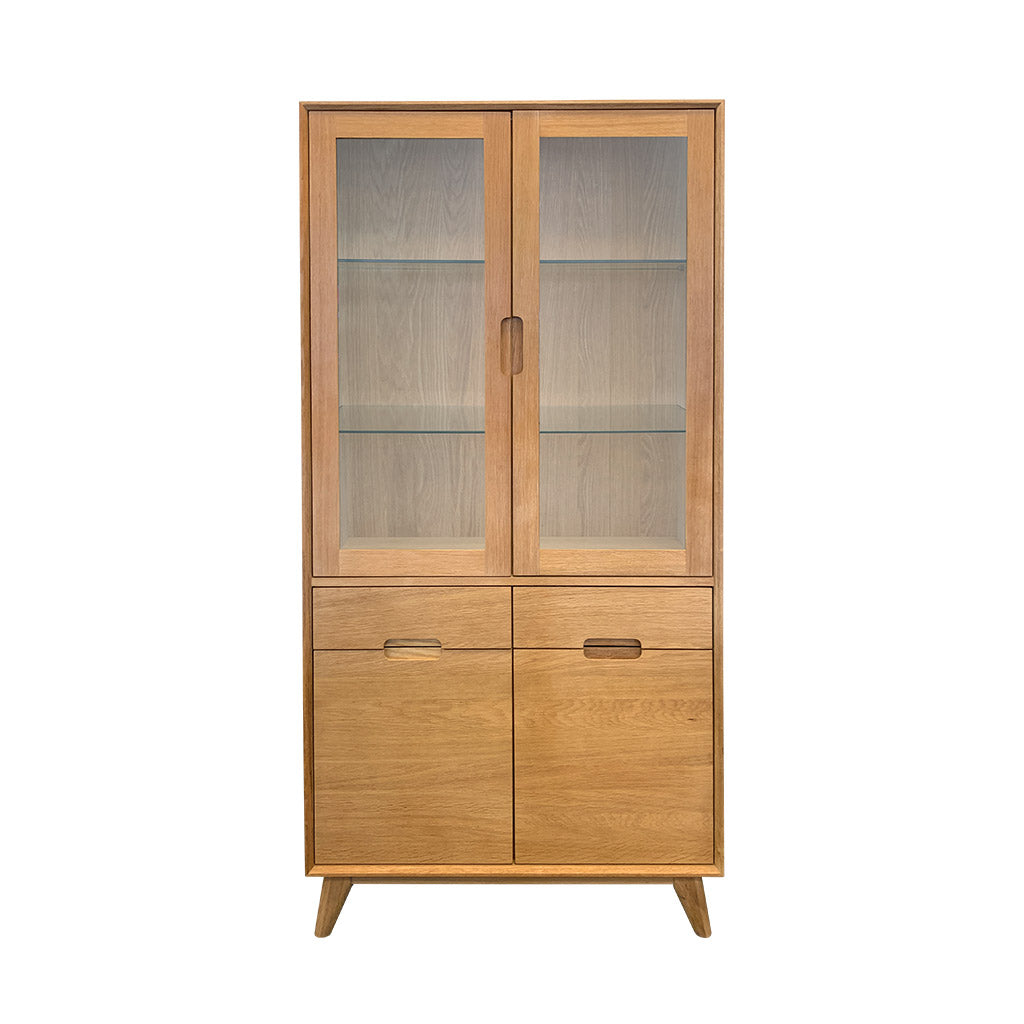 Rhodes China Display Cabinet - Oak/Oak Veneer