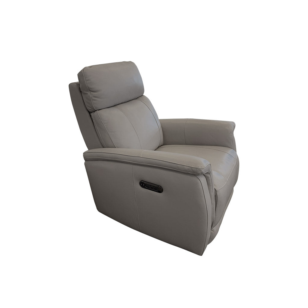 Salerno Electric Recliner - Sassari Grey Top/Split Leather
