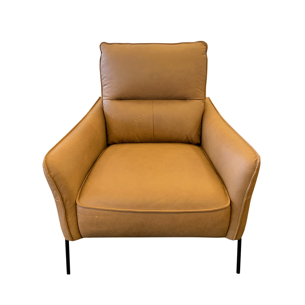 Modern tan leather occasional chair