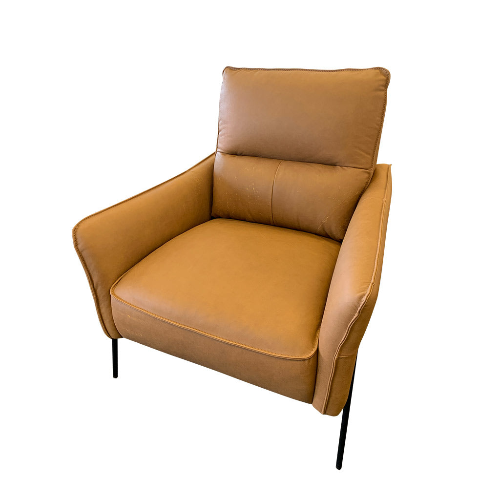 Contemporary tan leather chair
