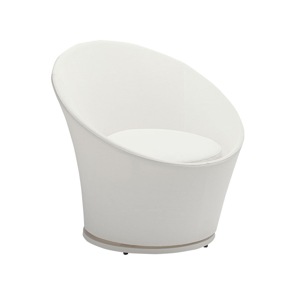 White outdoor swivel chair