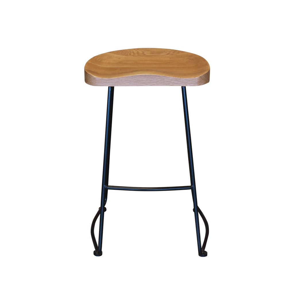 Tate Bar Stool - Black Frame/Solid Oak Seat