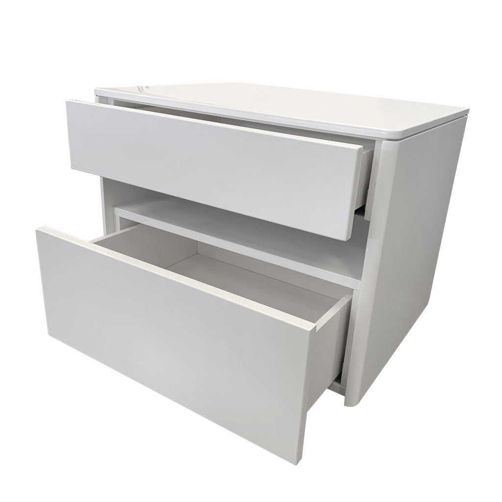 Taylor white gloss bedside drawers open