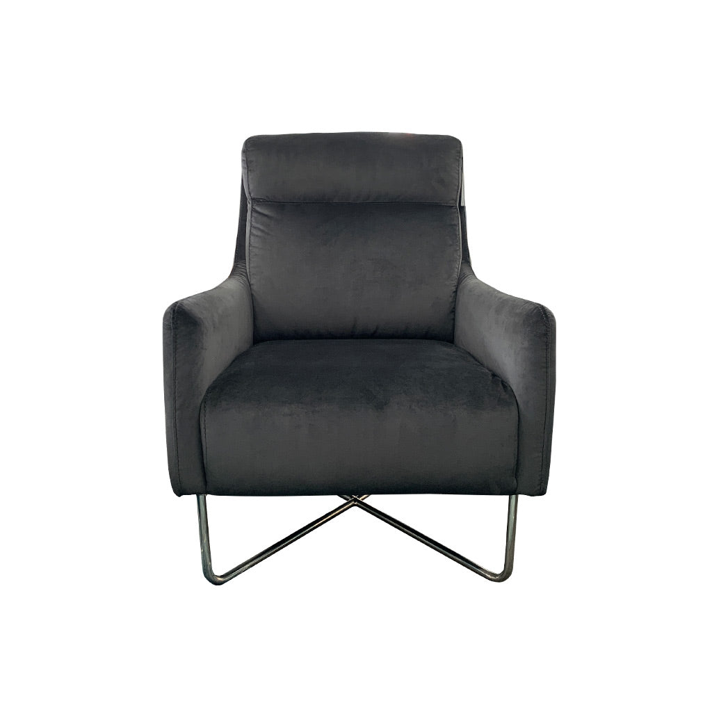 Trento occasional chair in black velvet fabric