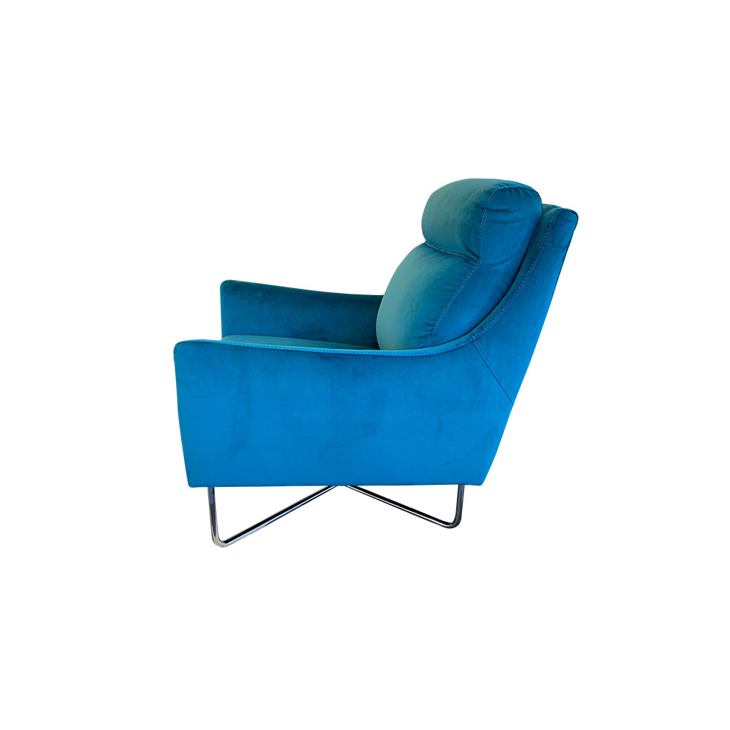 Teal velvet fabric occasional chair with chrome legs