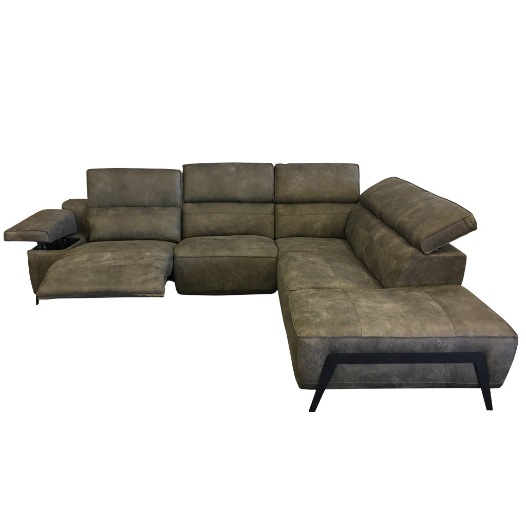 Valley corner electric recliner sofa - grey leather