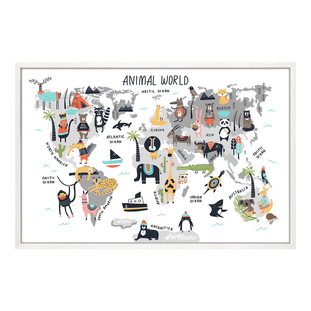 Children's Wall Art - Animal World Map