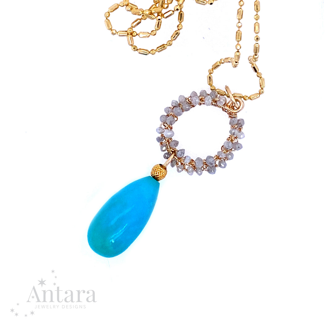 14K Gold Diamond and Turquoise Pendant