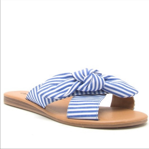 Striped Bow Sandals-Blue/White