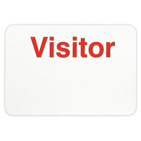 "Adhesive non-expiring badge (handwritten) with printed ""VISITOR"""