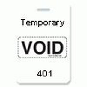 "Reusable VOIDbadge White 401-500 ""TEMPORARY"""