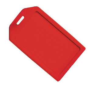 Red Rigid Plastic Luggage Tag Holder - IDenticard.com