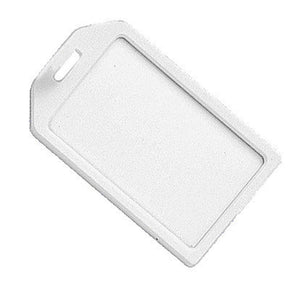 White Rigid Plastic Luggage Tag Holder - IDenticard.com