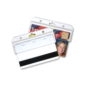 "Frosted Rigid Plastic Horizontal Half-Card Holder, 3.38"" x 1.4"" - IDenticard.com"