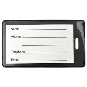 Black Semi-Rigid Plastic Luggage Tag Holder - IDenticard.com