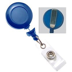 Navy Blue No-Twist Badge Reel with Clear Vinyl Strap & Belt Clip - IDenticard.com