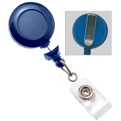 Royal Blue No-Twist Badge Reel with Clear Vinyl Strap & Belt Clip - IDenticard.com