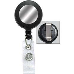Black Badge Reel with Silver Sticker, Reinforced Vinyl Strap & Belt Clip - IDenticard.com