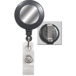 Gray Badge Reel with Silver Sticker, Reinforced Vinyl Strap & Belt Clip