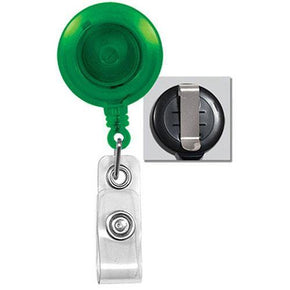 Translucent Round Badge Reel with Strap and Belt Clip