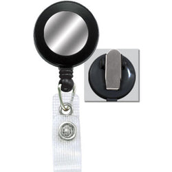 Black Badge Reel with Silver Sticker, Reinforced Vinyl Strap & Spring Clip - IDenticard.com