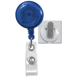 Translucent Blue Badge Reel with Clear Vinyl Strap & Spring Clip - IDenticard.com