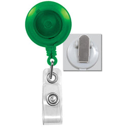 Translucent Green Badge Reel with Clear Vinyl Strap & Spring Clip - IDenticard.com