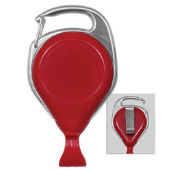 Red Proreel (Carabiner Style) with Card Clip & Belt Clip