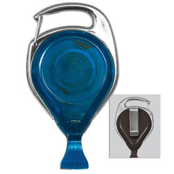 Translucent Blue Proreel (Carabiner Style) with Card Clip & Belt Clip