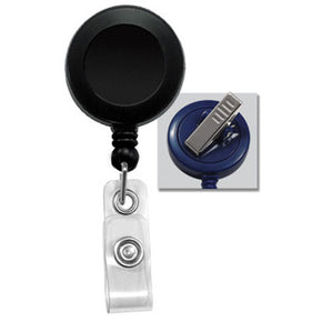Black Round Badge Reel With Strap And Swivel Clip - IDenticard.com