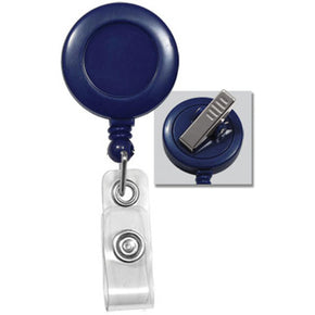 Royal Blue Round Badge Reel With Strap And Swivel Clip - IDenticard.com
