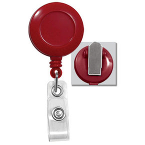 Red Round Badge Reel With Strap And Swivel Clip - IDenticard.com