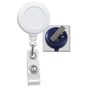 White Round Badge Reel With Strap And Swivel Clip - IDenticard.com