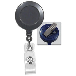 Gray Badge Reel with Clear Vinyl Strap & Swivel Spring Clip - IDenticard.com