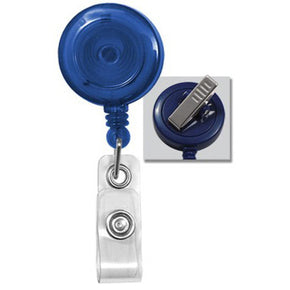 Translucent Blue Badge Reel with Clear Vinyl Strap & Swivel Spring Clip - IDenticard.com