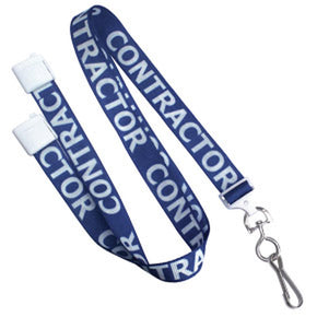 "5/8"" (16 mm) Pre-Printed ""CONTRACTOR"" Lanyards - IDenticard.com"