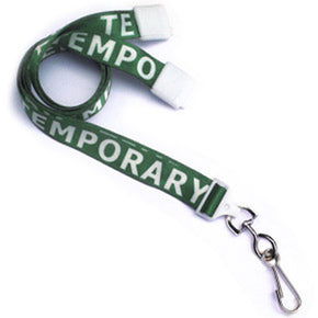 "5/8"" (16 mm) Pre-Printed ""TEMPORARY"" Lanyards - IDenticard.com"