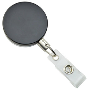 Metal Case Badge Reel with Wire Cord Black - Chrome - IDenticard.com