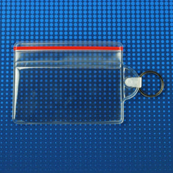 Vinyl Horizontal Badge Holder with resealable closure and key ring, 3.63