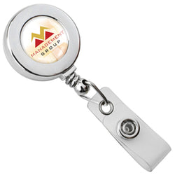 Chrome Round Badge Reel with Strap and Slide Clip - IDenticard.com
