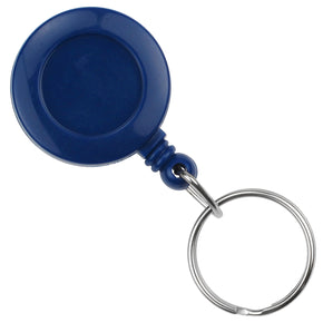 Royal Blue Round Badge Reel With Key Ring And Slide Clip - IDenticard.com
