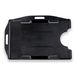 Rigid Plastic Horizontal-Vertical Open Face Two-card Badge Holder, black, 2-3/8