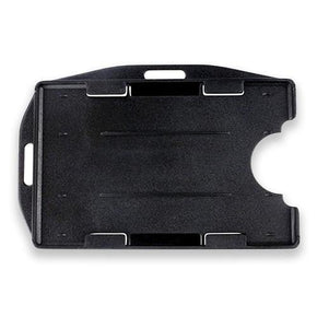 "Rigid Plastic Horizontal-Vertical Open Face Two-card Badge Holder, black, 2-3/8"" x 3-3/8"""