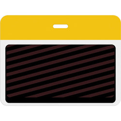 Large slotted expiring badge back with printed yellow bar - IDenticard.com