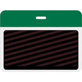 Large slotted expiring badge back with printed green bar