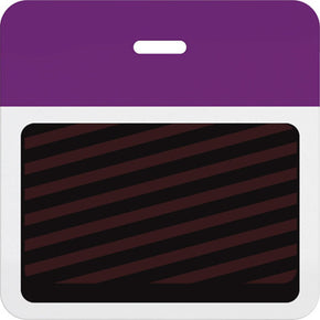Slotted expiring badge back with printed purple bar