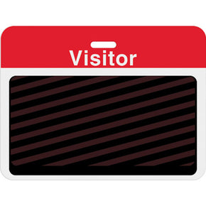 "Large slotted expiring badge back with printed red ""VISITOR"" bar"